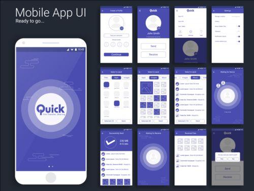 Mobile application theme design vector 08