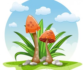 Mushrooms and cloud white round background vector 01
