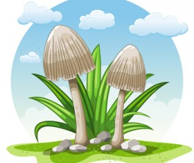 Mushrooms and cloud white round background vector 02