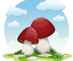 Mushrooms and cloud white round background vector 03