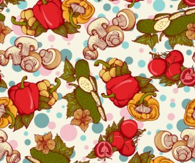 Mushrooms and peppers seamless pattern retro vector