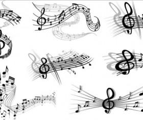 Music notes design elements set vector 05