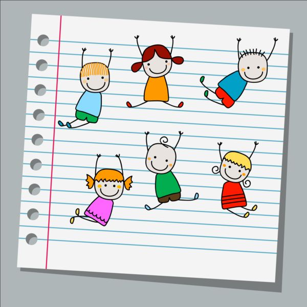 Notebook paper with kids vector material 02