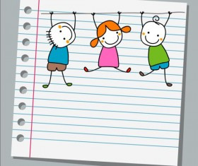 Notebook paper with kids vector material 03
