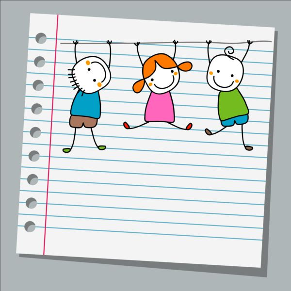 Notebook paper with kids vector material 03 Vector Life free – Notebook Paper Download
