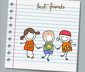 Notebook paper with kids vector material 04