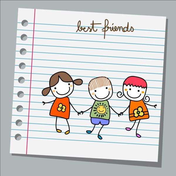 Notebook paper with kids vector material 04 Vector Life free – Notebook Paper Download