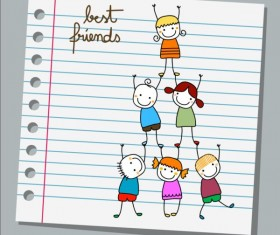 Notebook paper with kids vector material 05