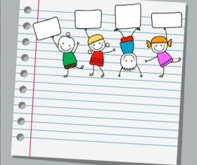 Notebook paper with kids vector material 06