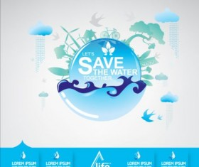 Now save water publicity template design 05