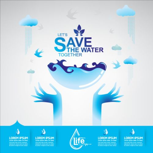 Now save water publicity template design 07