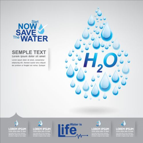Now save water publicity template design 12