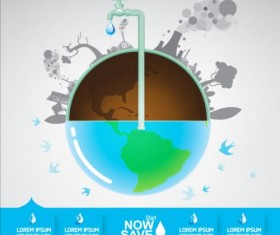 Now save water publicity template design 13