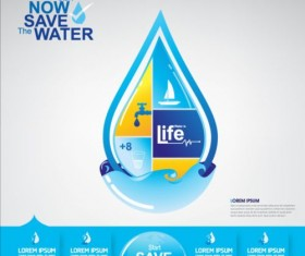 Now save water publicity template design 14