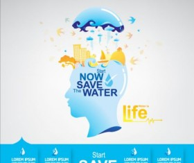 Now save water publicity template design 18