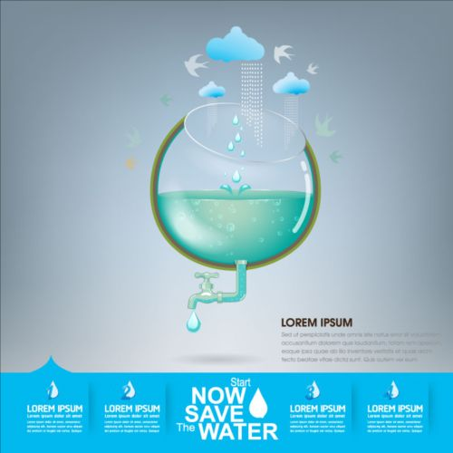 Now save water publicity template design 20
