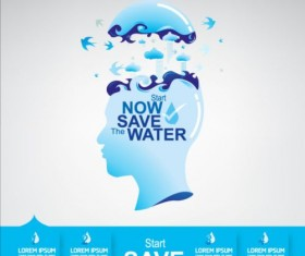 Now save water publicity template design 21