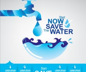 Now save water publicity template design 22