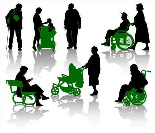 Old people with disabled persons silhouette vector 02 free ...