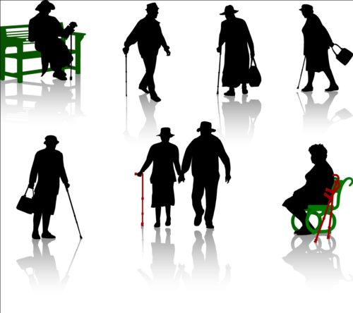 Old people with disabled persons silhouette vector 04