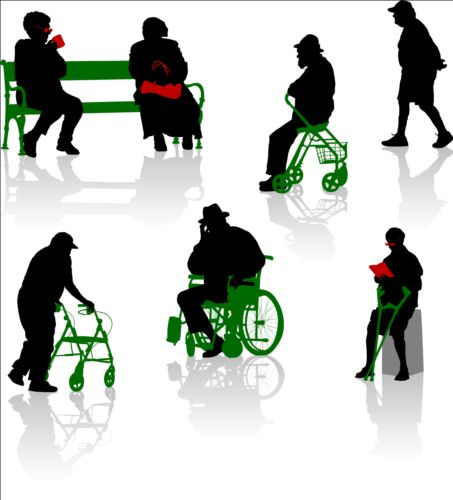 Old people with disabled persons silhouette vector 05
