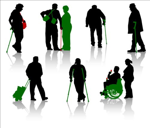 Old people with disabled persons silhouette vector 09