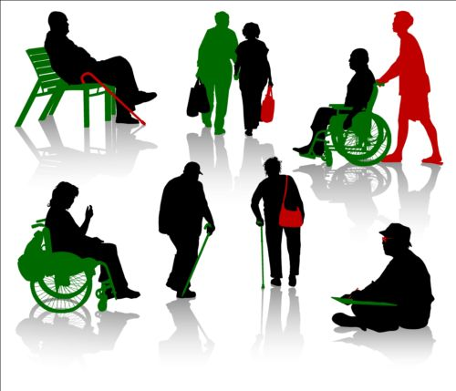 Old people with disabled persons silhouette vector 10