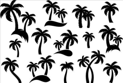 Palm tree silhouetter vector 03 - Vector Plant, Vector Silhouettes ...