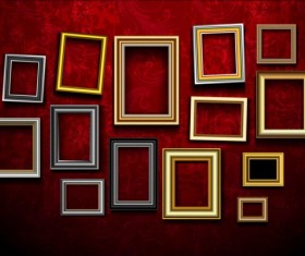 Photo frame and red wall vector