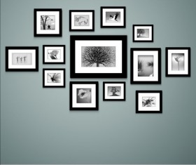 Photo with photo frame on wall vector 01