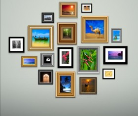 Photo with photo frame on wall vector 02