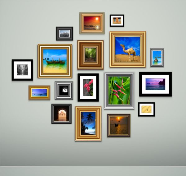 Photo With Frame On Wall Vector 02