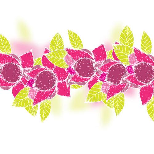 Pink flowers and yellow leaves vector background 06