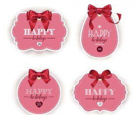 Pink holiday cards with red bow vector 01