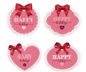 Pink holiday cards with red bow vector 02