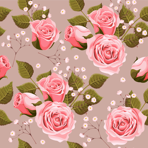 226934 Pink Rose With Green Leaves Pattern Seamless Vector on 3d Design Free Source
