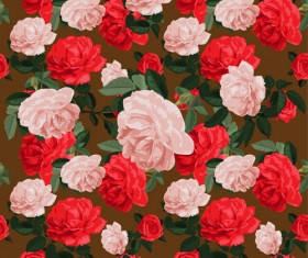 Pink with red flowers pattern seamless vector