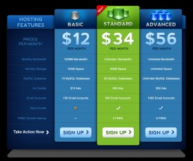 Pricing Table PSD Material