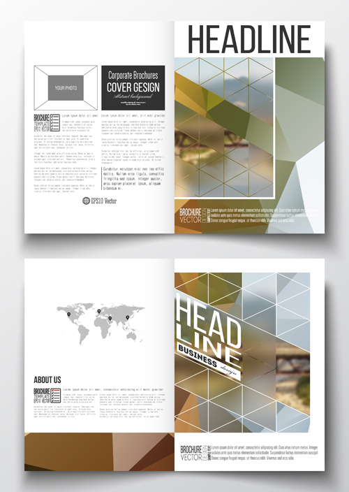 Publicize brochure with magazine cover design vector 08