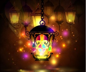 Ramadan kareem with beautiful lantern background 02