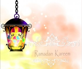 Ramadan kareem with beautiful lantern background 03