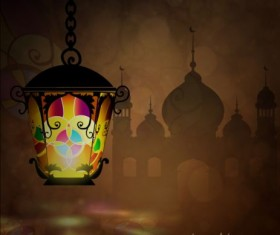 Ramadan kareem with beautiful lantern background 04