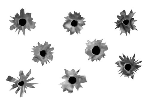 Realistic bullet holes vector illustration 03