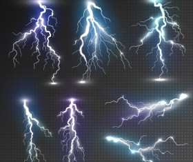 Realistic lightning illustration vector 01