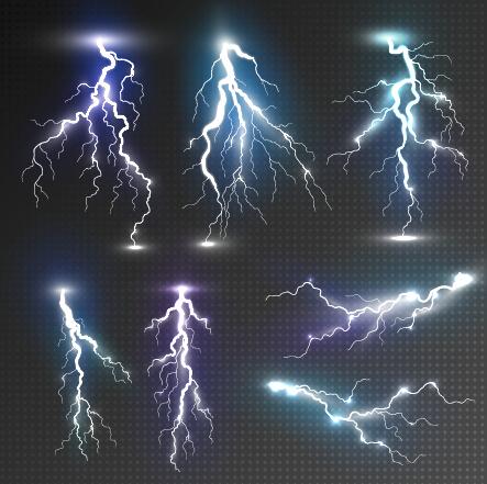 Realistic Lightning Illustration Vector 01
