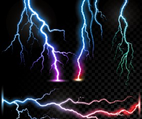 Realistic lightning illustration vector 03