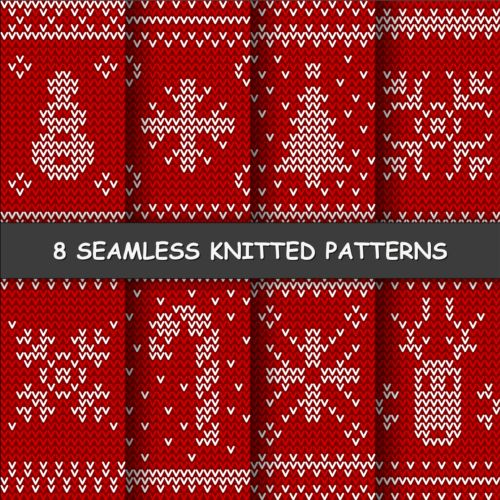 Knitting Pattern Vector Download : Red and white knitted pattern seamless vector 01 - Vector ...