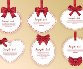 Red bow with white holiday cards vector 01