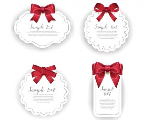 Red bow with white holiday cards vector 02