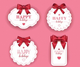 Red bow with white holiday cards vector 03